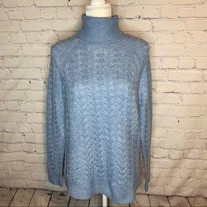 MICHAEL KORS Blue chambray cable knit sweater